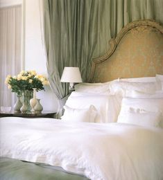 very pretty headboard.  i would use a damask as long as the colors were suble and harmonious like this