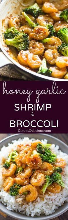 Easy Honey Garlic Shrimp and Broccoli | 1000 Fish Recipes, Seafood Recipes, Asian Recipes, Dinner Recipes, Cooking Recipes, Healthy Recipes, Delicious Recipes, Quick Shrimp Recipes, Cooked Shrimp Recipes