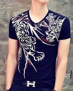 62b0bd14f Black tiger and dragon t shirt for big and tall men v neck chinese style