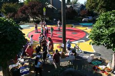 """""""Tactical Urbanism"""" - a painted intersection in Portland US."""