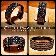 How badass is this men's band. Done in black gold with 4 rows of black diamonds in a bead setting.