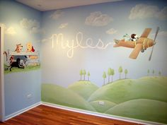 Snoopy baby room wall mural... take away Winnie the Pooh and add red barron... (I changed this caption to make notes for myself.)