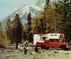 I would love to be doing this right now. 69 Dodge Crew Cab Power Wagon. Love that extended cab over on the camper!