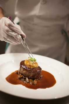 Filet Mignon of Beef with Marrow Custard: Tournedo de Boeuf aux Moelle Royale, Freres Troisgros, Wild Mushrooms, in a Red Wine Sauce