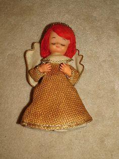 Antique Vintage Burlap Angel Molded Face Cone Shape Tree Topper   eBay