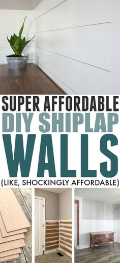Adding shiplap to your walls gives your home an instant modern-farmhouse vibe and luckily there's a super affordable way to DIY shiplap in your own home that will fit into any home improvement budget! diy home improvement Affordable DIY Shiplap Walls Modern Farmhouse, Farmhouse Style, Farmhouse Decor, Farmhouse Design, Home Improvement Projects, Home Projects, Home Improvements, Metal Projects, Diy Design