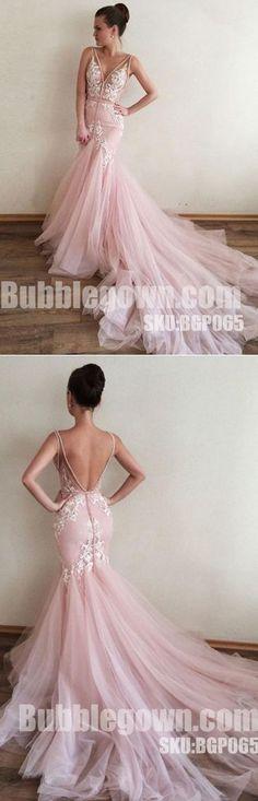 Pink V Neck Applique Tulle V Back Mermaid Inexpensive Long Prom Dress, BGP065 #promdress #promdresses #longpromdress #longpromdresses