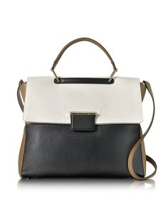 FURLA WOMEN'S 857042 WHITE/BLACK LEATHER HANDBAG. #BestPrice $9.99!