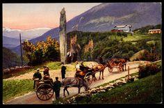 Hordaland fylke Voss kommune STALHEIM. Flott kolorert. Fint nærmotiv folk, hester og vogner ved Sivlestøtten. 1910. Utg Mittet