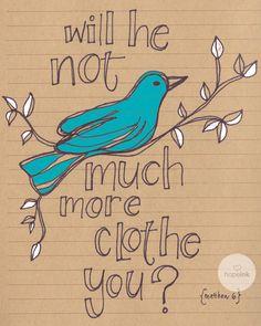 Scripture Illustration, Modern Bible Verse Art, Blue Bird On Branch (8x10). $24.00, via Etsy.