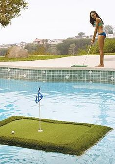 Work on your golf game or simply enjoy a fun, leisurely game with friends poolside with the Floating Golf Green.