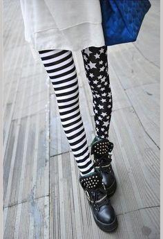 Sexy Women High Elasticity Pants Stars Asymmetrical Striped leggings