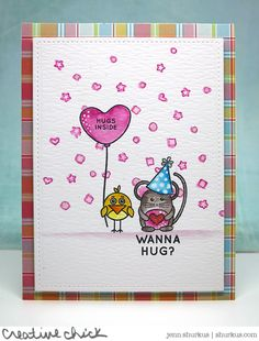 SSS Cuddly Critter Accessories; SSS Cuddly Critters; Lawn Fawn Perfectly Plaid paper; watercolor; stars; hearts; hugs