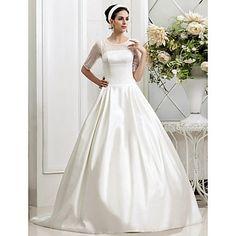A-line Princess Jewel Court Train Beading Tulle Wedding Dress – GBP £ 101.77