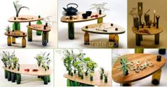 Table from wine bottles - I Like to Decorate