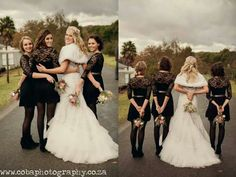 Bridesmaids dresses. Black with lace arms. Short flair with black stockings and ankle boots... worked very well! Proteas for colour. Awesome photo ideas!