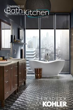 Take me away, see the beauty of the city through my eyes...in this beautiful bathtub by The Bold Look of KOHLER. You need to see more? Visit us at TheSomervilleBathAndKitchenStore.com to schedule a visit. Kitchen Store, Plumbing Fixtures, Bath Design, Clawfoot Bathtub, Design Elements, Schedule, Your Style, House Design, Eyes