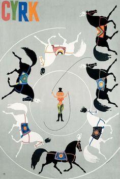 polska ilustracja dla dzieci: Zapowiedź - Cyrk, Circus: Woman Horse Tamer Mosinski Marek 1968