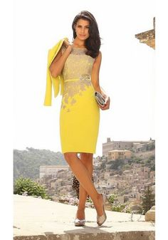 Formal Illusion Knee Length Yellow Satin Sheath Column Mother Of The Bride Dress With Jacket B2lr0021