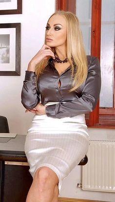 Pias Satin World Satin Pencil Skirt, Pencil Skirt Black, Satin Skirt, Satin Dresses, Corset Dresses, Pencil Skirts, Sexy Blouse, Blouse And Skirt, Dress Skirt