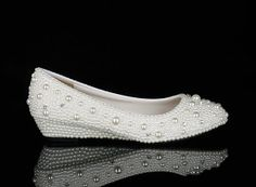 Wedges Pearl Crystal Shoes Luxury White Pearl by AppleCellphone, $179.00