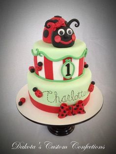 I made this cake for a 1st birthday party. The ladybug head is rice crispies and the body is cake. It was used for the smash cake:) Everything on the cake is covered with fondant. Thanks for looking!