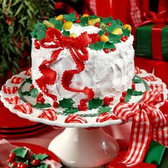 What a charmingly delightful Holiday Lane Cake! Plus the plate looks easy to make and can change the theme for different events