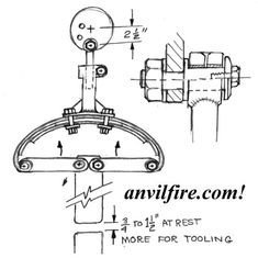 Bow spring power hammer linkage design sketch and parameters. From the catalog of DIY user built or Junk Yard Power Hammers (JYH) from all over the globe. Power Hammer Plans, Blacksmith Power Hammer, Hammer Tool, Blacksmith Tools, Forging Tools, Blacksmithing Knives, Hammer Machine, Diy Forge, English Wheel