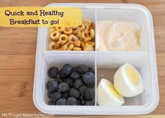 Healthy and quick breakfast to go!  Would be an easy lunchbox idea or afternoon snack as well.