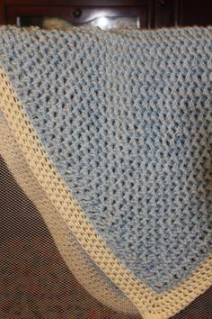 Baby Blue and Cream Crochet Baby Blanket  by AllFOURLoveCrochet, $60.00