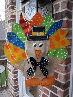Darling Thanksgiving turkey burlap door decoration