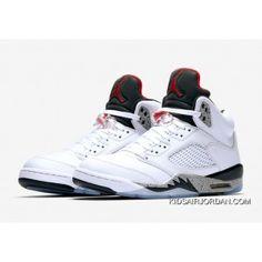 5f90e695f2d3ec Air Jordan 5 White Cement White Fire Red-Tech Grey-Black 136027-104  Basketball Shoes Outlet