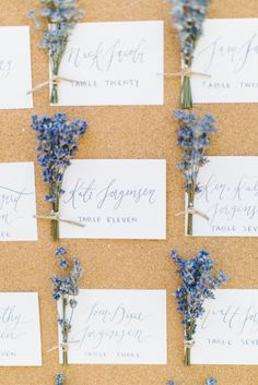 Purple Calligraphed Wedding Escort Cards