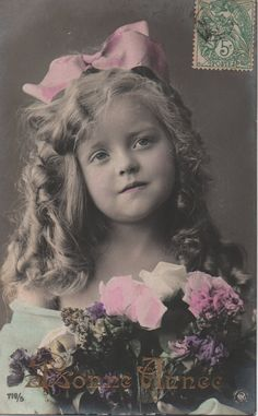 Sausage curls, pink ribbon, pink sepia lilac, blonde girl, real photo card, Edwardian child, shabby vintage, hand tinted  (rppc/ch308)