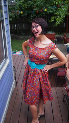 Check out our lovely customer Lauren M. wearing this deliciously colorful Floral Cut Out Shoulder Dress from Folter Clothing. We LOVE Folter! Their clothes are easy to wear AND Made in the USA!