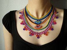Beaded lace necklace - crocheted with yellow, orange, magenta pink, indigo and turquoise blue beads by irregularexpressions by irregular expressions Beaded Lace, Beaded Flowers, Crochet Flowers, Beaded Jewelry, Handmade Jewelry, Knitted Necklace, Lace Necklace, Freeform Crochet, Bead Crochet