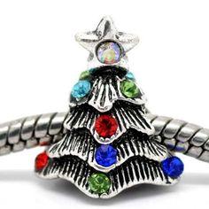 "Pro Jewelry "" Christmas Tree W/colored Stones "" Silver Charm Bead Pandora Troll Chamilia Compatible $4.95 #topseller"