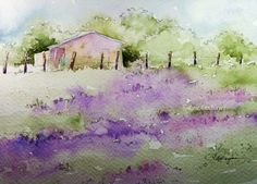 """This is a print of my original watercolor painting of a Lavender Field in France. This open-edition print measures 5"""" x 7"""", and it comes matted in a"""