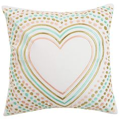 Oh Joy! for Peking Handicraft emboridered heart pillow perfect for nurseries! Fur Throw Pillows, Throw Pillow Sets, Outdoor Throw Pillows, Decorative Throw Pillows, Heart Pillow, Cotton Pillow, Hearts, Cotton Canvas, Simple Addition