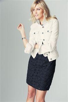 White denim jacket... | Jacket | Pinterest | Stretch denim ...