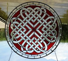 Celtic Valentine Round Stained and Beveled Glass Window TU23 | Stained Glass and More, Inc.