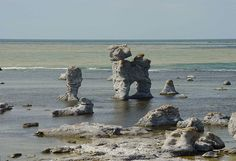 "Raukar on Fårö island, off the Island of Gotland. The rauken ""Hunden"" (The Dog), also called ""Kaffepannan"" (The Coffee Pot) by Gamlehamn's rauk area on Fårö's west coast. Raukar are very large stone formations (actually, lava) created millions of years ago when the Baltic Sea was a tropical sea (!), that have since been eroded into these kinds of shapes."