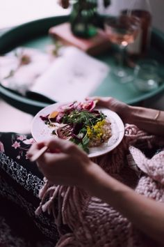 This salad hosts a wonderful combination of winter root vegetables, vibrant produce, and the unexpected - pickled rose petals - all layered in beautifully. Live life in color, starting with what you eat & the Anthropologie wares you serve and enjoy it on.