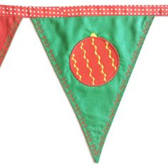 """Festive """"Merry Christmas"""" bunting with red and green flags to last for years. Ideal for decoration during Christmas or a season's gift."""
