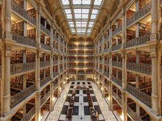 George Peabody Bibliothek, Hopkins Universität (c) Matthew Petroff / Wikimedia Commons
