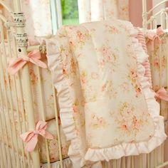 Shabby Chenille Crib Comforter With Ruffle