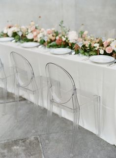 Elegant ghost chairs: http://www.stylemepretty.com/2016/12/06/how-to-rock-a-bridal-cape/ Photography: http://almondleafstudios.com/