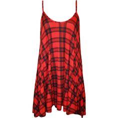 Karissa Tartan Swing Dress ($18) ❤ liked on Polyvore featuring dresses, red, aztec dress, red dress, red flare dress, red plaid dress and flared dresses