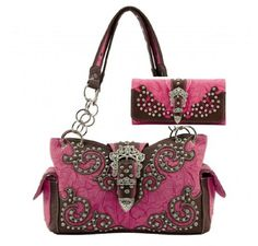 WESTERN BUCKLE HANDBAG PURSE WITH MATCHING WALLET  FUCHSIA -- Click image to review more details.
