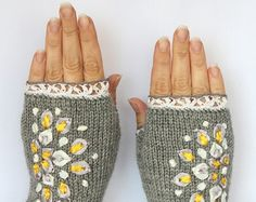 Hand Knitted Fingerless Gloves, Gloves & Mittens, Ribbon Embroidery, Rowanberry, Hand Crocheted Thin Cotton Lace, Elegant, Grey, Red, Brown, Gift Ideas, Cozy Handmade Accessories, For Women, Christmas.  These unique hand knitted accessory can be a wonderful accent to Your clothes :)  Gloves are: length: 29 cm (7,75 inches) + 1.5 cm crochet lace; circumference of the wrist: 18 cm (7). fiber composition: 60% wool, 40% acrylic. hand crocheted thin lace: 100 % cotton ribbons: 100 % polyamide…